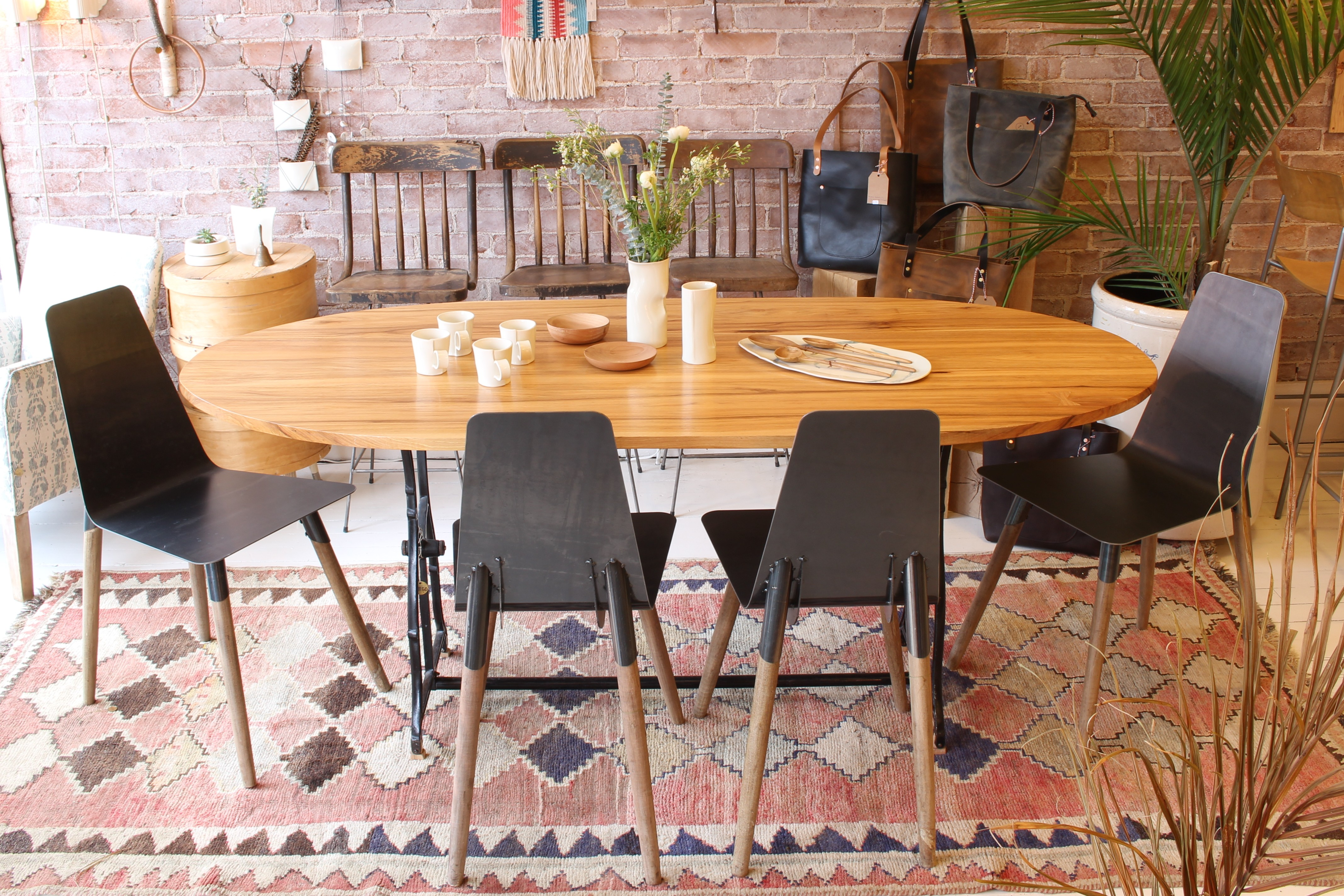 sticks and bricks steel and wood dining chairs