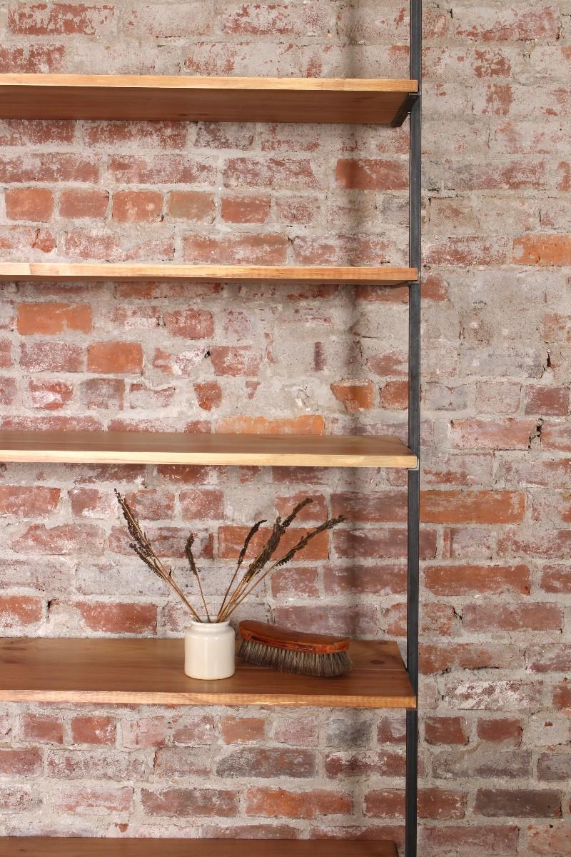 sticks and bricks liz karney custom shelving design steel and wood