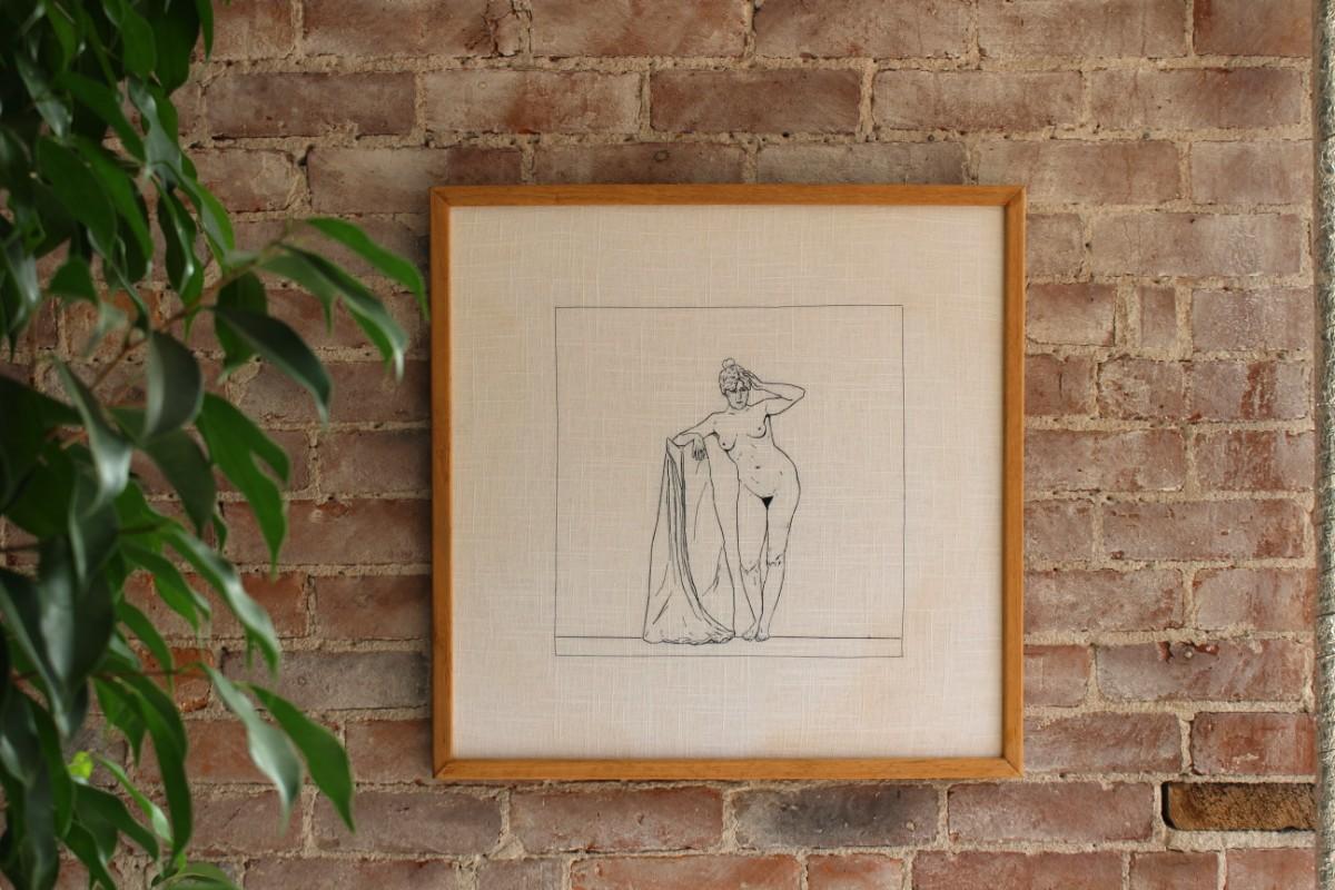 Embroidered Figure in Oak Frame